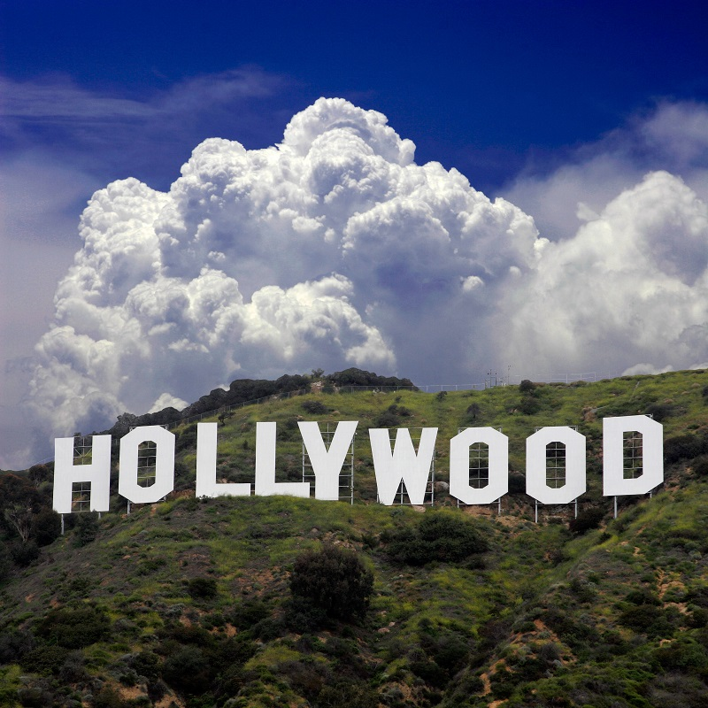 Hollywood California: December 5th 2006. Cloudy backdrop for the famous Hollywood Sign