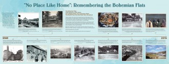"""""""No Place Like Home"""": Remembering the Bohemian Flats, Panel One from """"Bohemian Flats: One Place, Many Voices,"""" exhibited at Mill City Museum, Minneapolis, April 30 through November 1, 2015. Image courtesy of Minnesota Historical Society."""