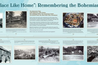 """No Place Like Home"": Remembering the Bohemian Flats, Panel One from ""Bohemian Flats: One Place, Many Voices,"" exhibited at Mill City Museum, Minneapolis, April 30 through November 1, 2015. Image courtesy of Minnesota Historical Society."
