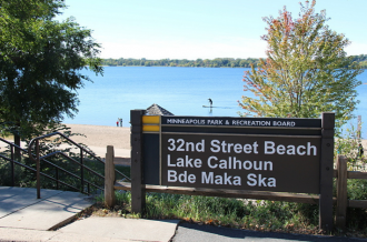 Signs at Lake Calhoun have been changed to include the lake's Dakota name, Bde Maka Ska. The new signs were approved by the Minneapolis Park and Recreation Board. The signs updated on Oct. 2, 2015. Peter Cox | MPR News