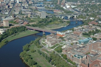 University of Minnesota on the Mississippi River looking towards St. Anthony Falls. Image from the Metropolitan Design Center Image Bank. Copyright Regents of the University of Minnesota. All rights reserved. Used with permission.