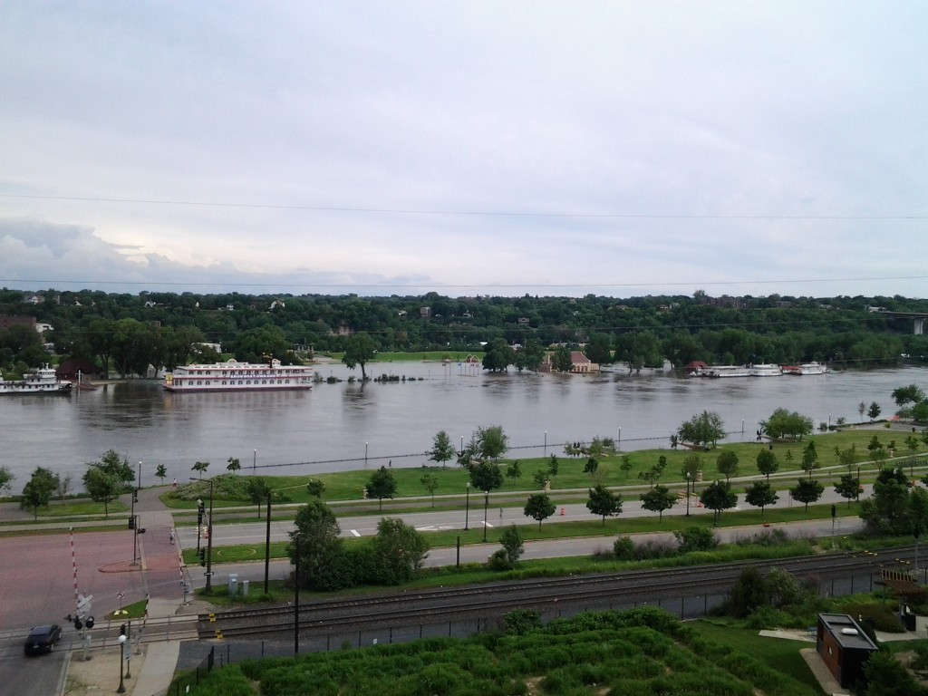 Mississippi River in flood in downtown Saint Paul in spring, 2014. Image by Patrick Hamilton.