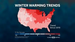 Winter warming trends since 1970. December, January, February 1970-2014/15. Source: NOAA/NCEI Climate at a Glance.