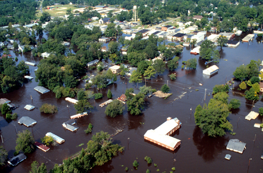 Aerial photograph of inland flooding caused by Hurricane Floyd. Photographer J. Jordan of the US Army Corps of Engineers.