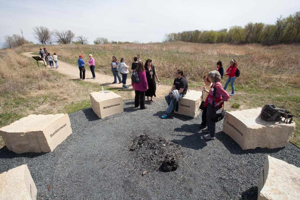 A circle of stones recognizes the seven council fires of Dakota people. Photo by Michael Murray; courtesy of the Minnesota Humanities Center.