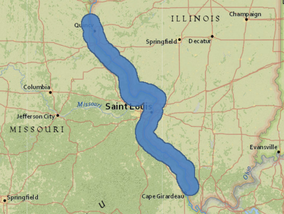 Figure 3. This map shows a 10-mile buffer (blue) of the Mississippi River near St. Louis, MO. Using ArcGIS Online, we can enrich the area by overlaying a variety of data with a few clicks of the mouse. Map illustration by Len Kne. Courtesy of U-Spatial.