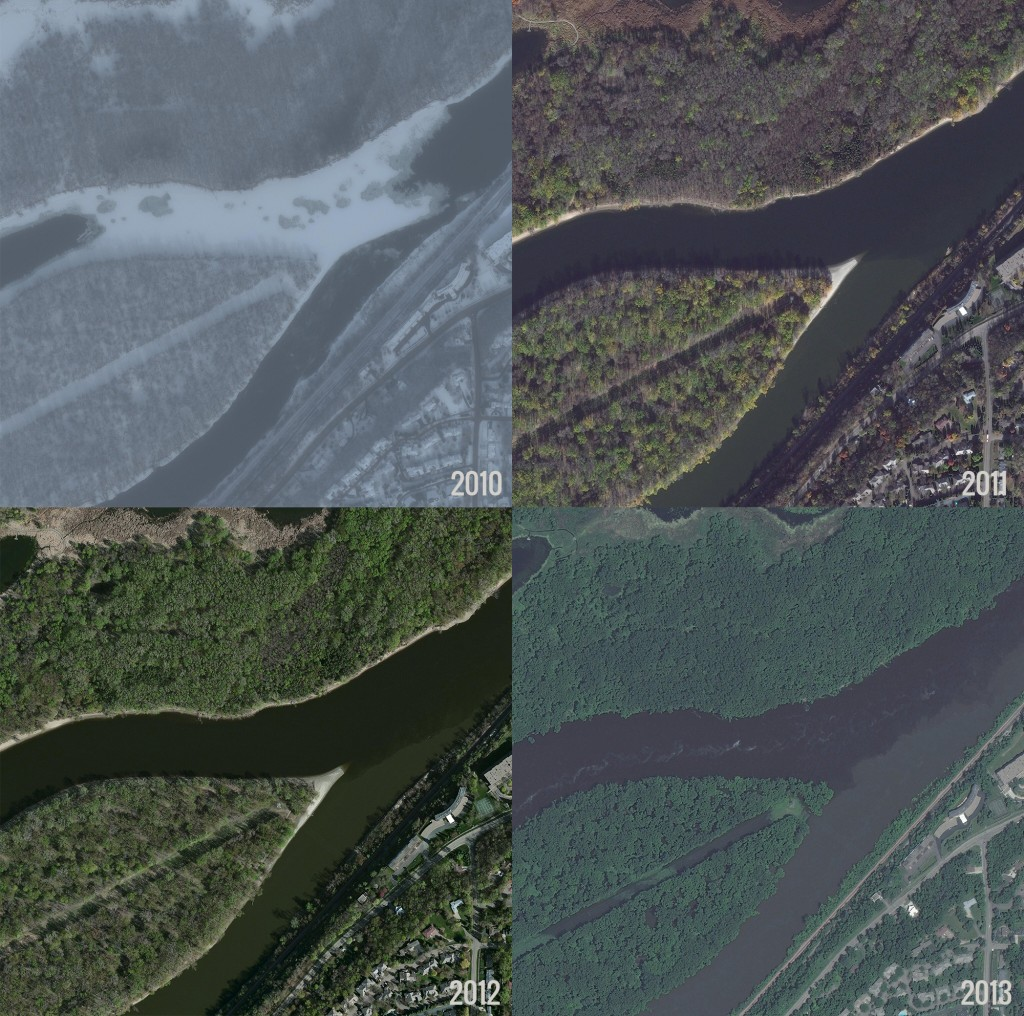 Figure 1. Confluence of the Minnesota and Mississippi rivers. Using satellite imagery, we can compare the amount of sediment coming into the Mississippi River from the Minnesota River (the lower river). Satellite Image Courtesy of DigitalGlobe Foundation.