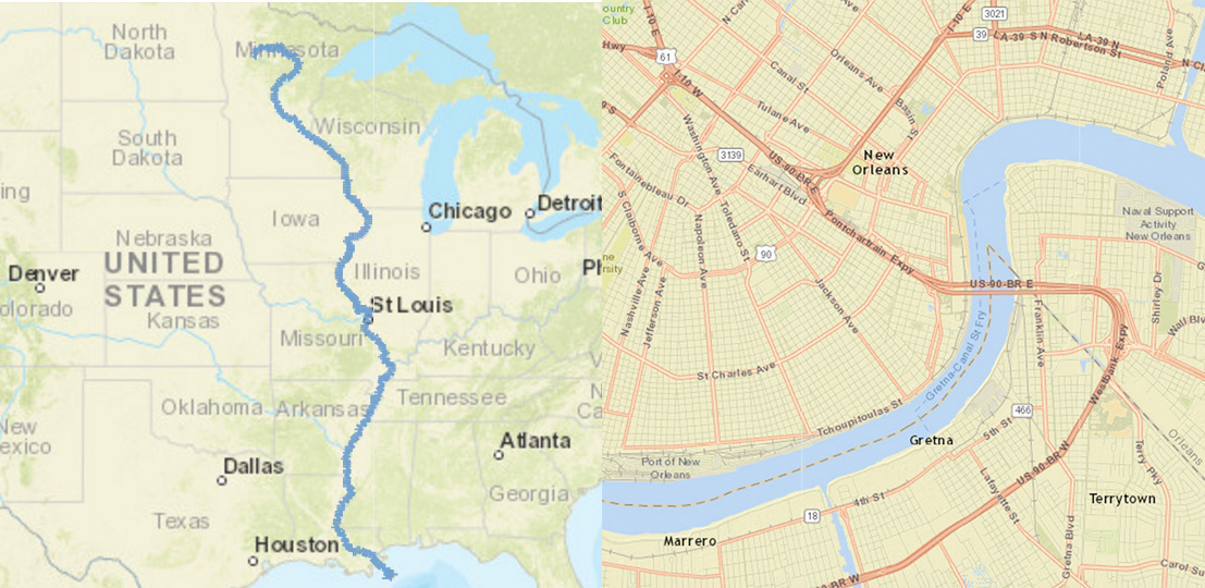 Figure 2. Demonstrating scale. The map on the left is small scale, with the Mississippi River represented as a line. The map on the right is large scale, with the river represented as a polygon. Map illustration by Len Kne. Courtesy of U-Spatial.