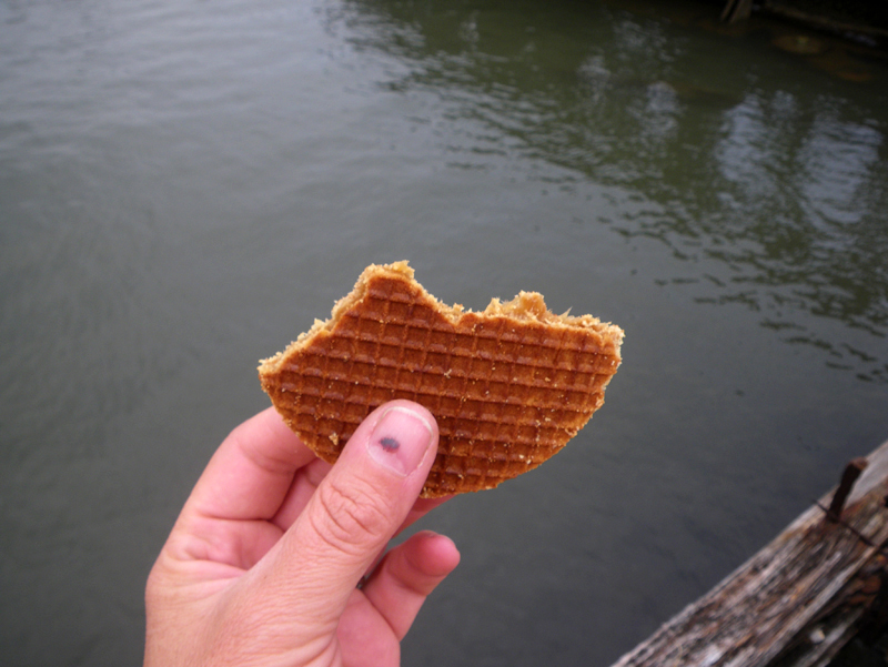 "Fig. 6. ""Sarah brought 'Stroopwafel' from the Netherlands,"" from Tidal Cycles with Sarah Cameron Sunde and Kara Hearn, 6/26/2015."