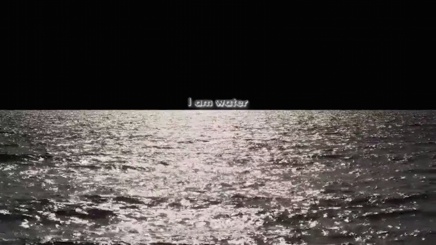 Hito Steyerl, video still from Liquidity Inc, 2014. The words 'I am Water' appear on the horizon over a body of water at night. Courtesy the artist. © Hito Steyerl.