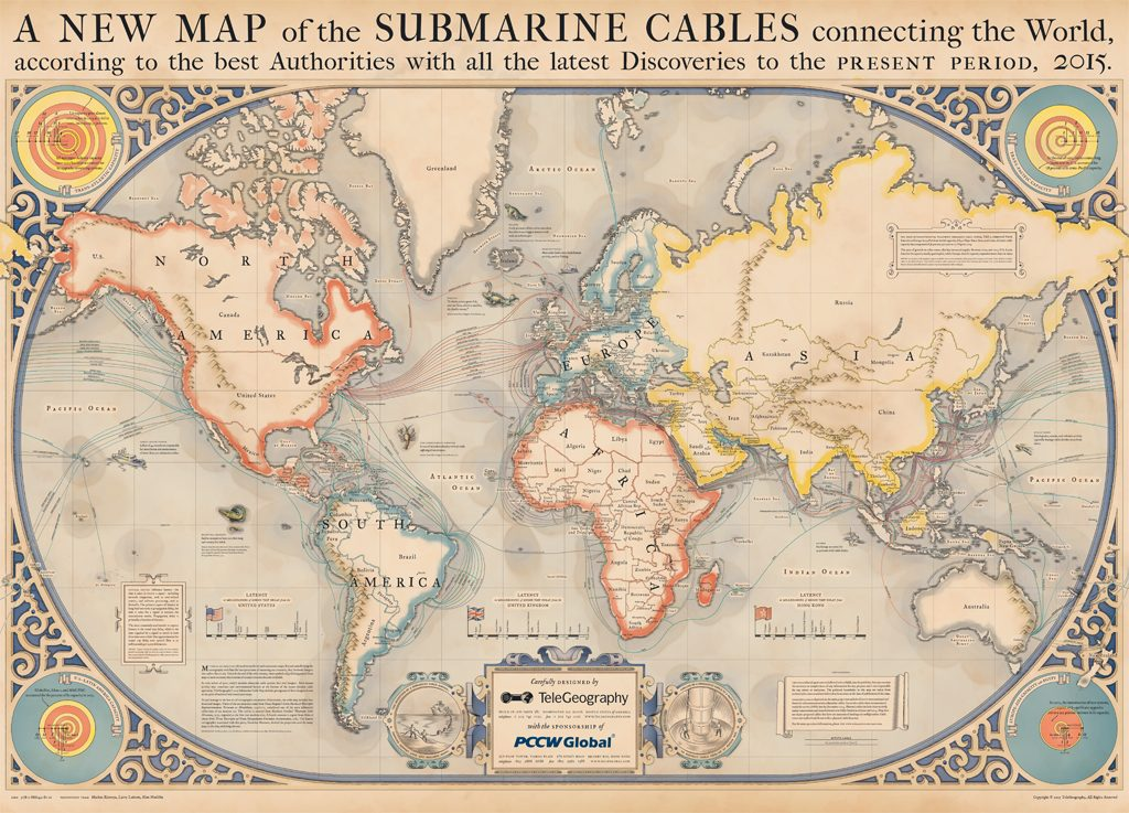 Telegeography Submarine Cable Map (2015), a map showing contemporary submarine cable infrastructure with elements of medieval and renaissance cartography. www.telegeography.com.