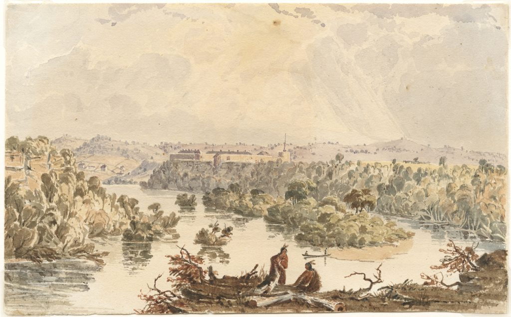 Seth Eastman, Distant View of Fort Snelling, 1847-49 Watercolor. Reproduced by permission of the Minnesota Historical Society.