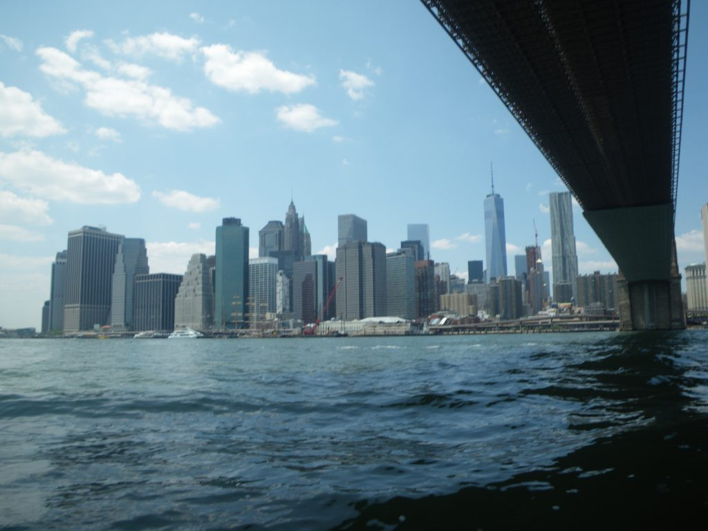 Fig. 17. 'The waves and ferry wake heaped up under the Brooklyn Bridge,' from Unexpected Adventure with Michael Taussig, Lan Tuazon and Dave Denz, 7/11/2015.
