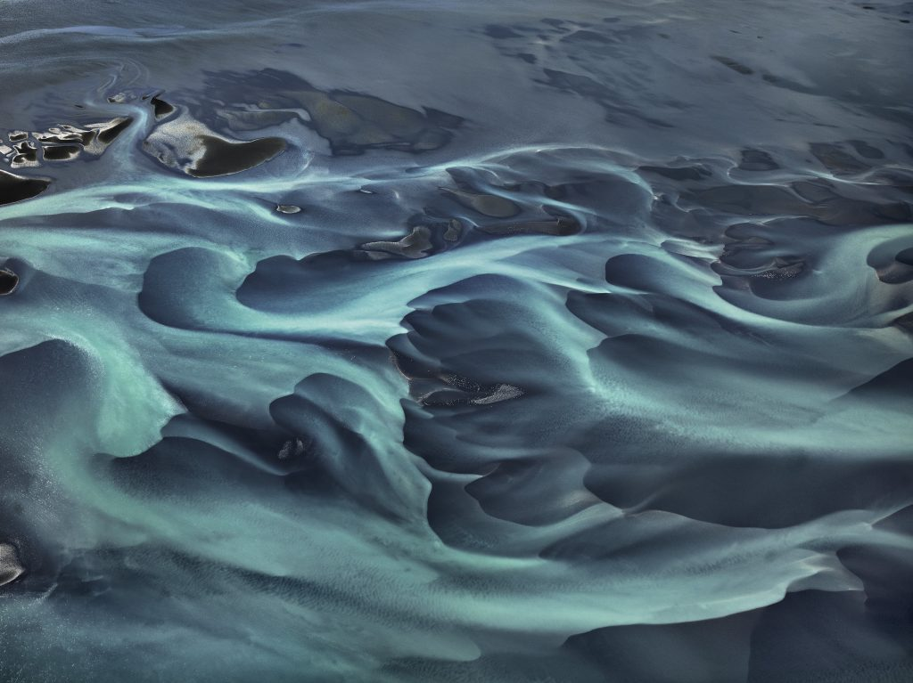 Edward Burtynsky (Canadian, b. 1955), Olfusa River #1, Iceland, digital chromogenic print, 2012. © Edward Burtynsky. Image courtesy of Nicholas Metivier Gallery, Toronto; Howard Greenberg Gallery, New York; and Bryce Wolkowitz Gallery, New York.
