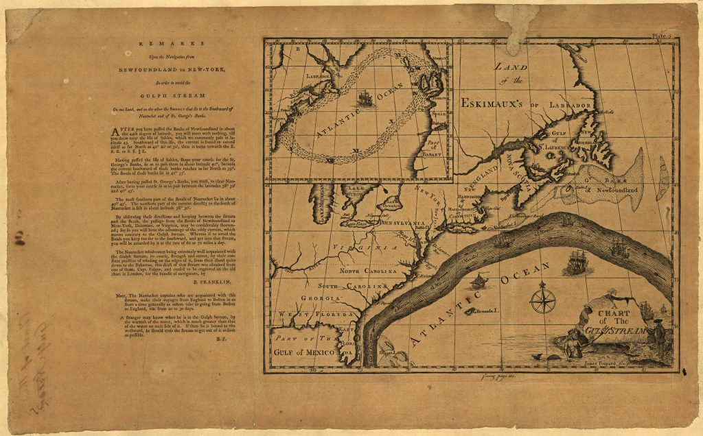 Figure 2, 'A chart of the Gulf Stream,' Benjamin Franklin, James Poupard, engraver. Appears in 'Maritime Observations' in the Transactions of the American Philosophical Society, 1786. Library of Congress Geography and Map Division, Washington, D.C.