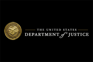 Logo of the United States Department of Justice.