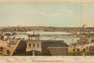 Lithograph of Minneapolis, Minnesota, 1874, by Hoffman. Chas. Shober & Co., Proprietors of Chicago Lith. Co. via The David Rumsey Historical Map Collection.