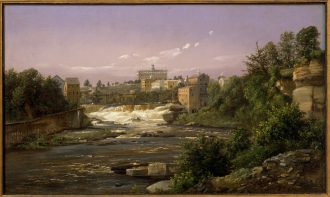 """Figure 1. Oil painting, """"St. Anthony Falls,"""" done in 1857 by Danish-born landscape artist Ferdinand Reichardt. It shows the Mississippi River, looking upstream toward the gorge and St. Anthony Falls prior to alteration for locks and dams. Image courtesy of the Minnesota Historical Society."""