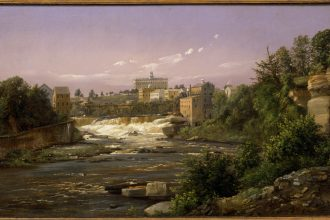Oil painting, 'St. Anthony Falls,' done in 1857 by Danish-born landscape artist Ferdinand Reichardt. It shows the Mississippi River, looking upstream toward the gorge and St. Anthony Falls prior to alteration for locks and dams