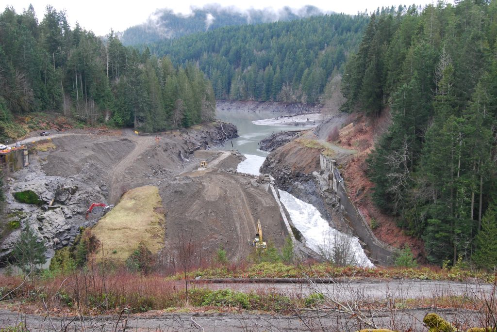 What little remained of the Elwha Dam as of February 14, 2012, by Ben Cody.