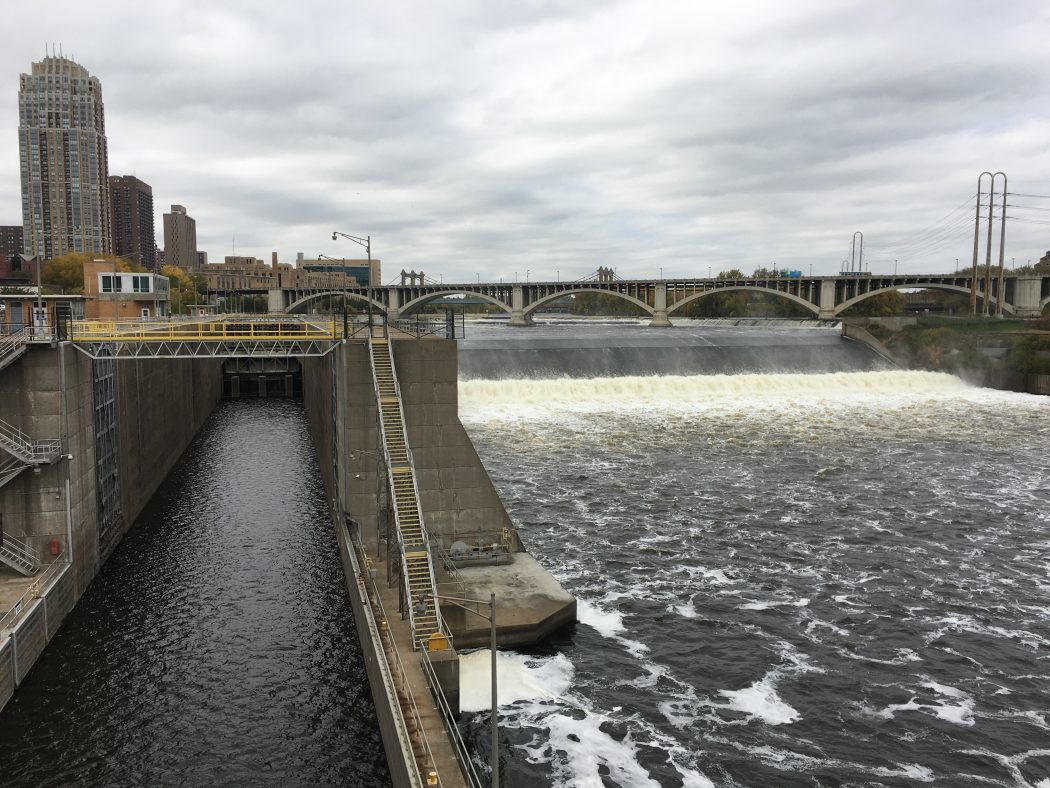 St. Anthony Falls Lock, closed in June 2015.