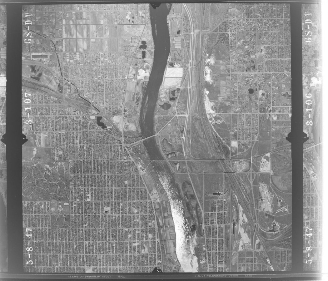 Aerial photo of north Minneapolis and the UHT area, 1947 (north is the top of the image). USGS Open Access.