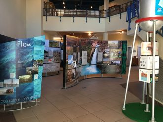 Water/Ways exhibition in the atrium of the Goodhue County Historical Society.