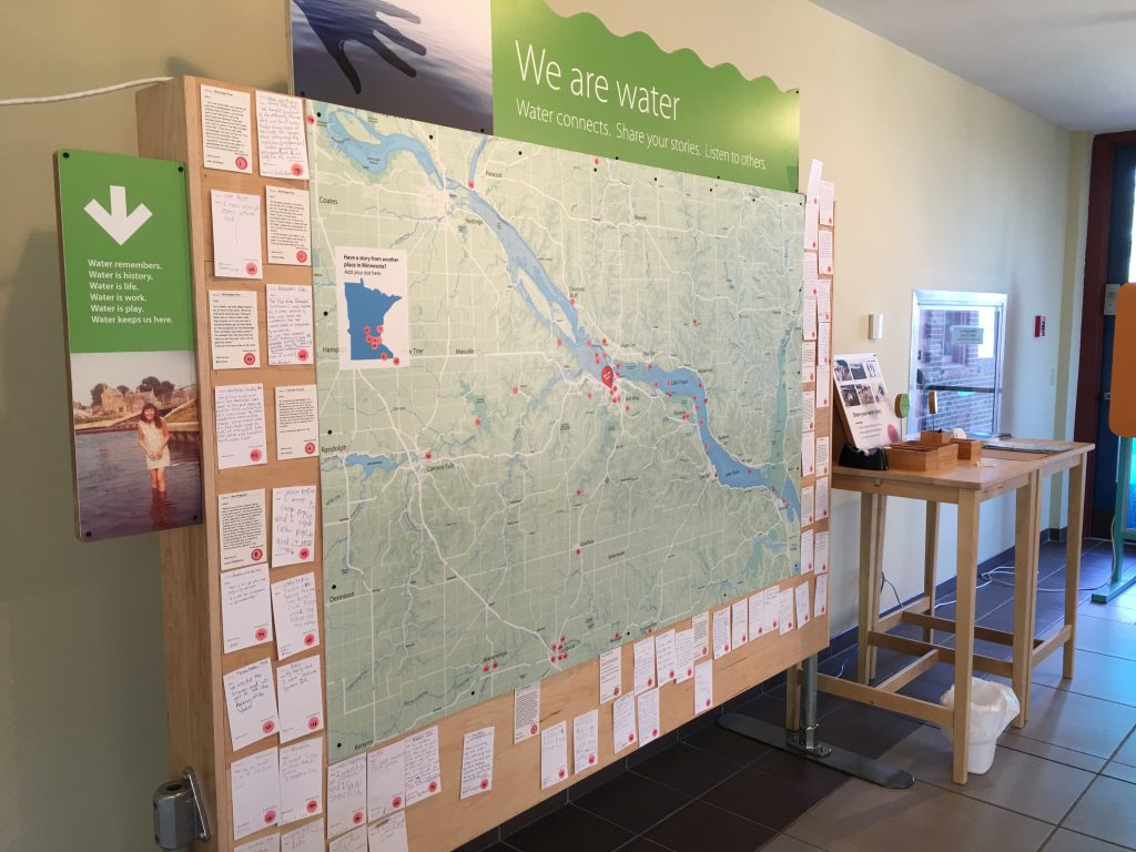 The 'We are Water' display encourages examination of the stories of nearby water landscapes, as well as inspires the visitor to contribute his or her own story.