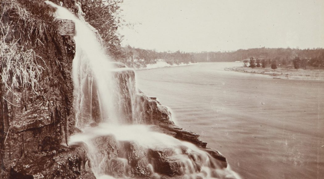 Bridal Veil Falls on the East Bank of the Mississippi River, 1860. Photo courtesy Minnesota Historical Society.