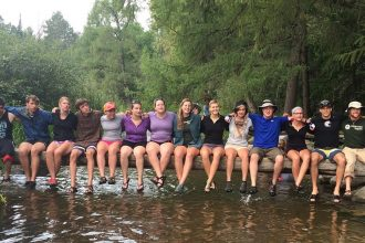 Students in the Augsburg River Semester Program at the Headwaters of the Mississippi River, Lake Itasca, South Clearwater, MN. Image courtesy of river_semester Instagram.
