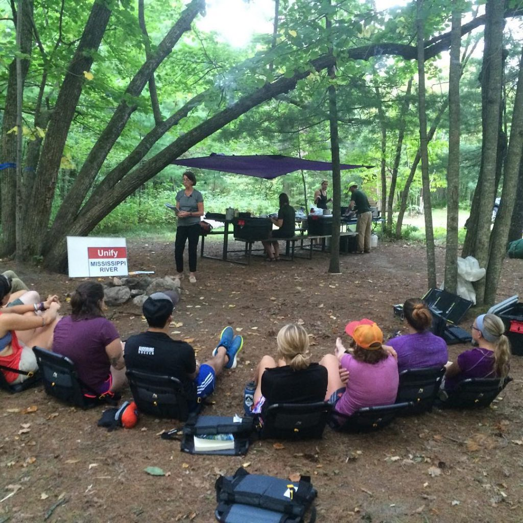 On the River Semester Program, the classroom is everywhere. Learners here are enjoying their first guest lecture at Itasca. Image courtesy of river_semester Instagram