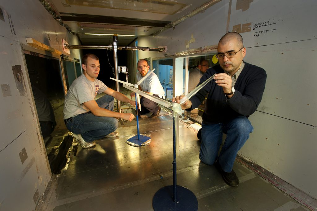 The SAFL Wind Tunnel is largely used for wind energy research, including optimization of power from different wind farm configurations. Image courtesy of SAFL.