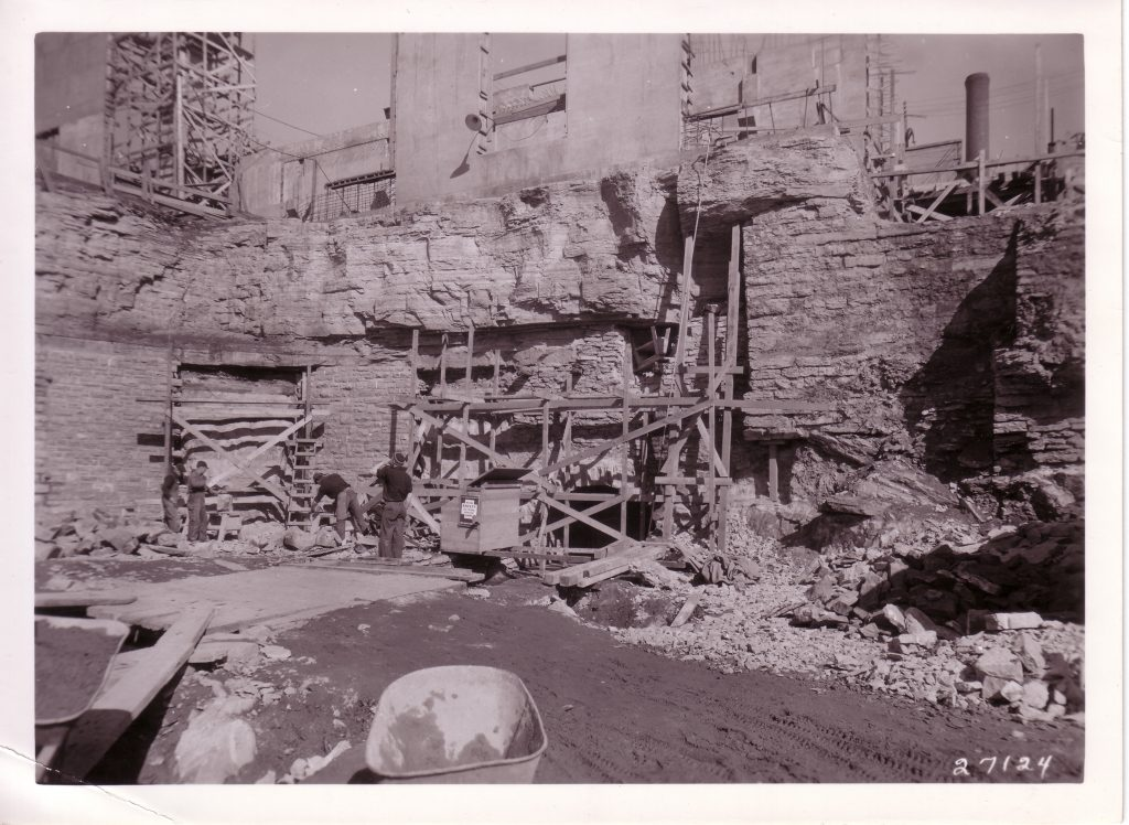 Construction of the laboratory included excavation into the native Plateville Limestone on site. Image courtesy of SAFL.