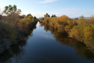 Stretch of the Los Angeles River in the Sepulveda Basin Wildlife Area.