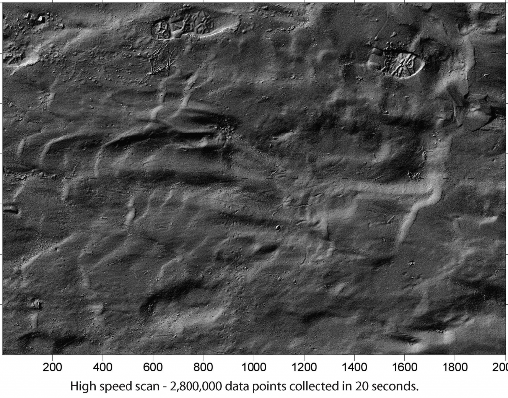 This topographic data, not a photograph, was collected in SAFL's main channel flume using the automated data carriage system. Image courtesy of SAFL.
