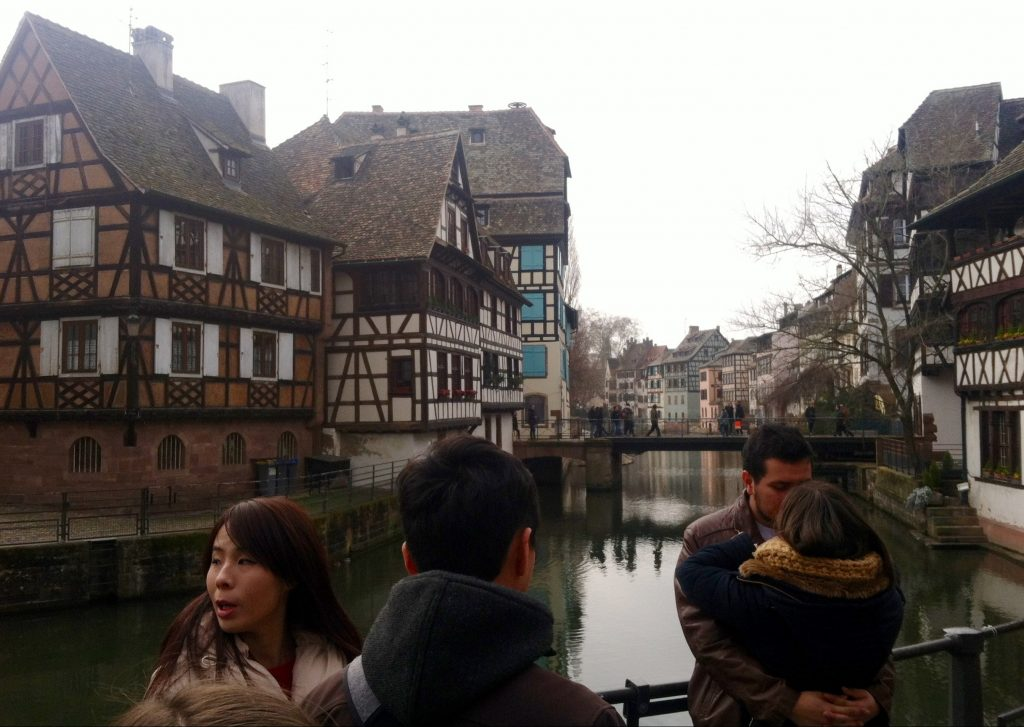Tourists and Tanner's House in the Petite France area of Strasbourg, France. Image courtesy of Kristen Anderson.
