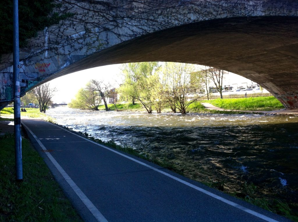 High water levels nearly flood the Dreisam River bike route in Freiburg, Germany. Image courtesy of Kristen Anderson.
