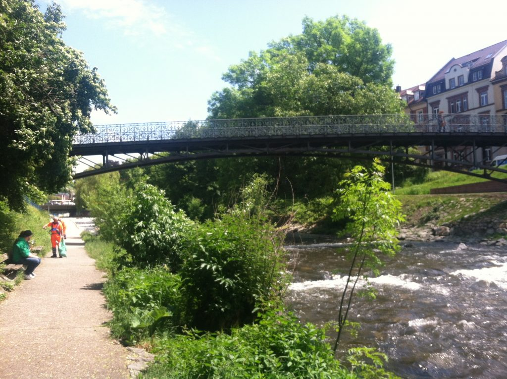 Pedestrian paths and bridges along the urban Dreisam River in Freiburg, Germany. Image courtesy of Kristen Anderson.