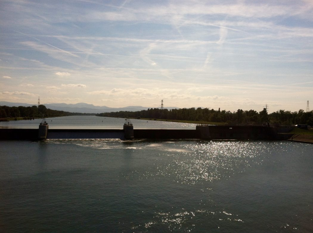 Weir dam and lock on the Rhine River at Breisach, Germany. Image courtesy of Kristen Anderson.