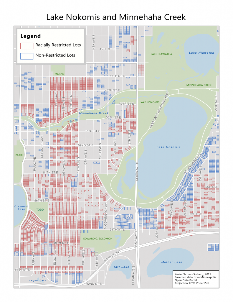 South Minneapolis, especially the neighborhoods around Lake Nokomis and Diamond Lake, had the highest concentration of racial covenants the project has found thus far. The map shows a high number of 'racially restricted lots' compared to 'non-restricted lots.' Image courtesy of Kevin Ehrman-Solberg.