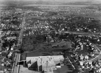 Aerial view of South Minneapolis looking east toward Lake Nokomis from Washburn High School circa 1928. Image used with permission of the Minnesota Historical Society.