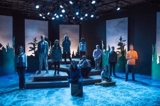Scene from production of 'One River' at University of Minnesota Duluth. Image courtesy of Mueez Ahmad and Brett Groehler.