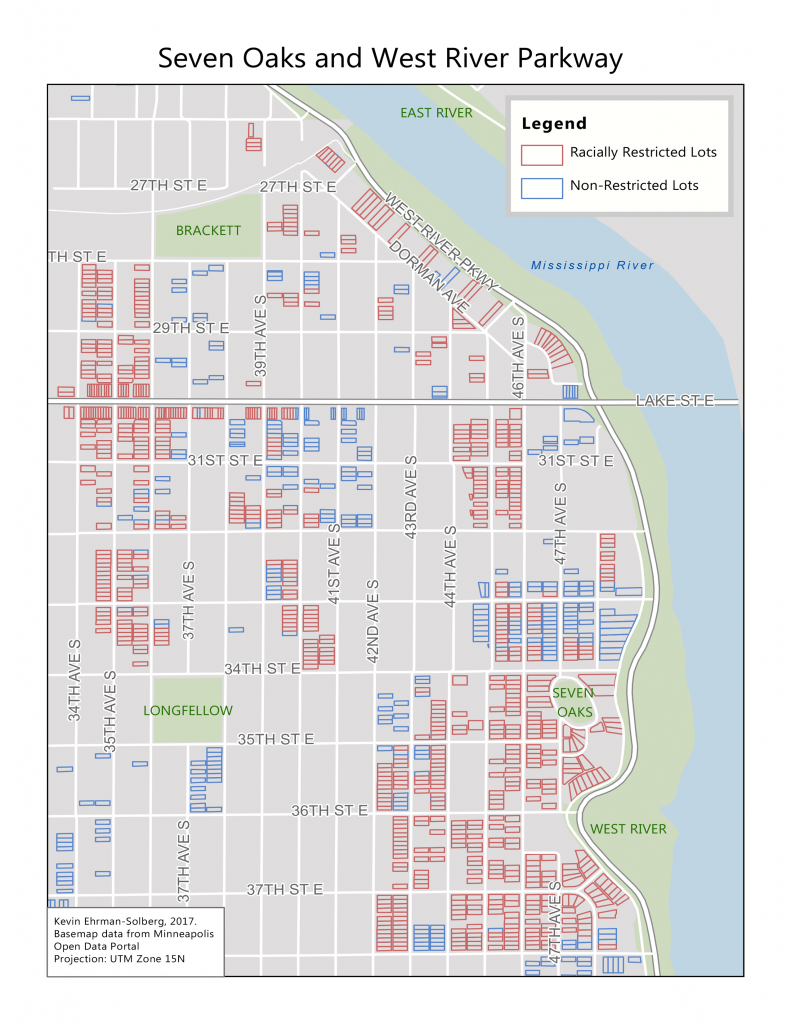 Many of the homes lining West River Road along the Mississippi River in Minneapolis were off-limits to anyone who was not white. The map shows a high number of 'racially restricted lots' compared to 'non-restricted lots.' Image courtesy of Kevin Ehrman-Solberg.