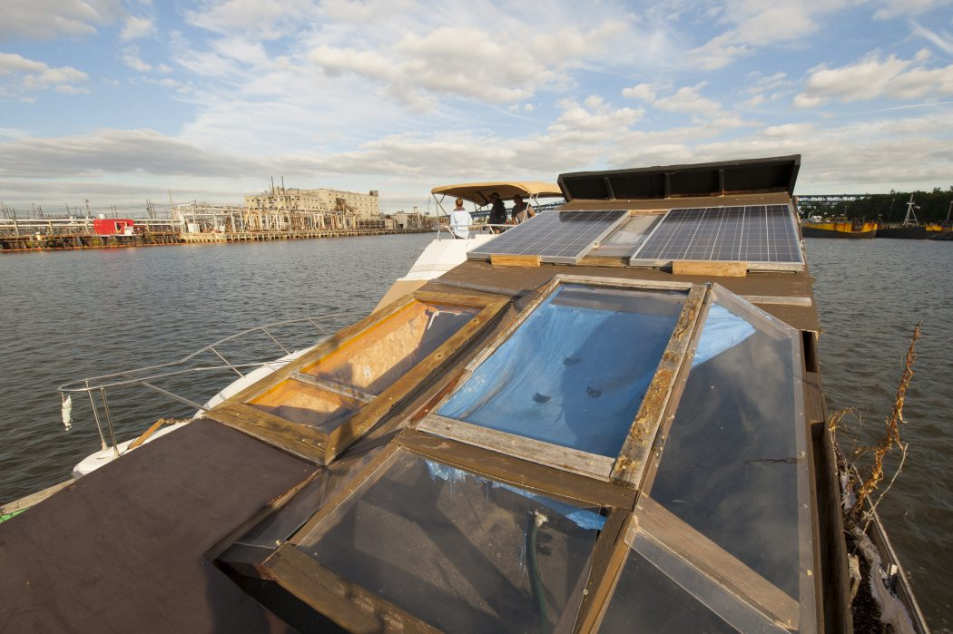 WetLand + Refinery: View from The WetLand Project's floating lab motoring up the Schuylkill River. Image by Phil Flynn.