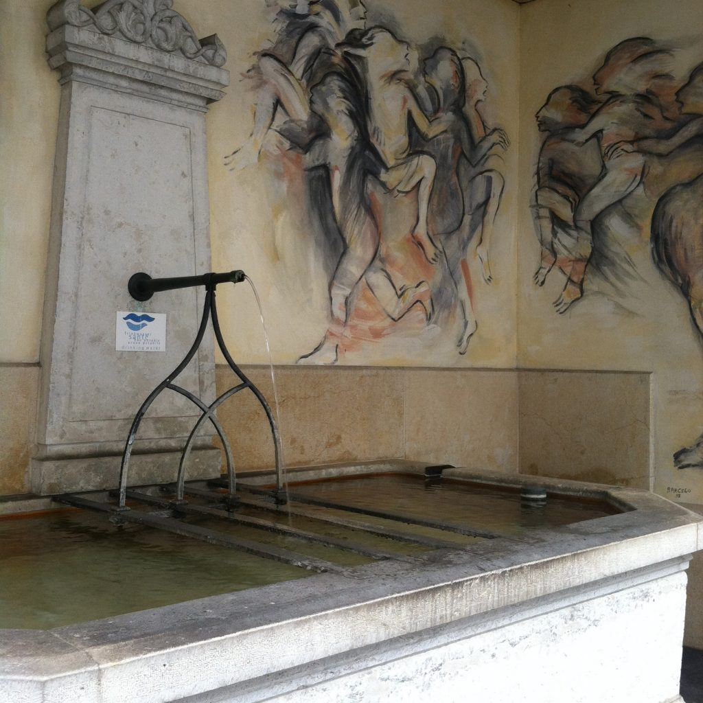Water fountain and mural in Basel, Switzerland. Image courtesy of Kristen Anderson.