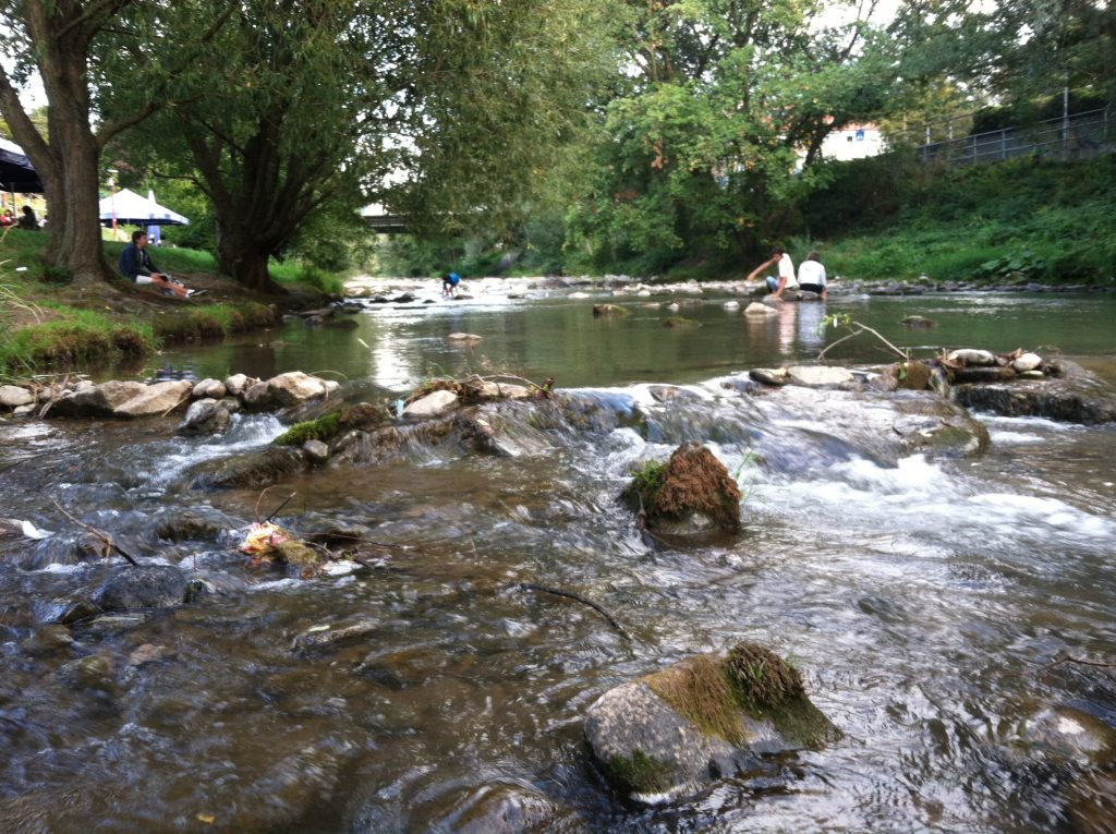Wading near a streamside cafe in Freiburg, Germany. Image courtesy of Kristen Anderson.