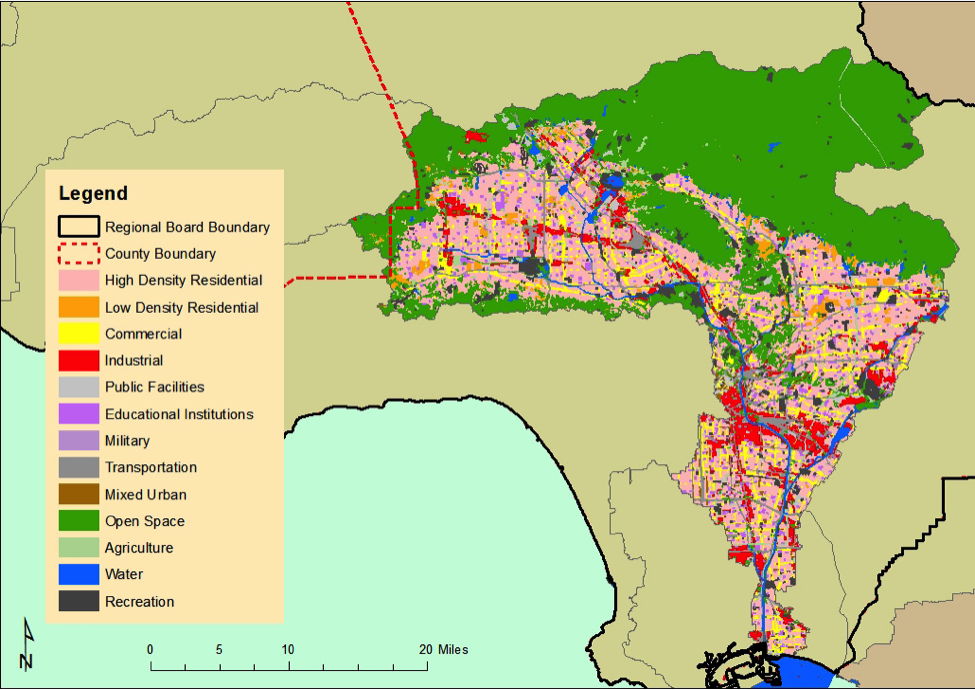 Land use in the Los Angeles River Watershed. Most of the land on this map is either High Density Residential or Open Space.