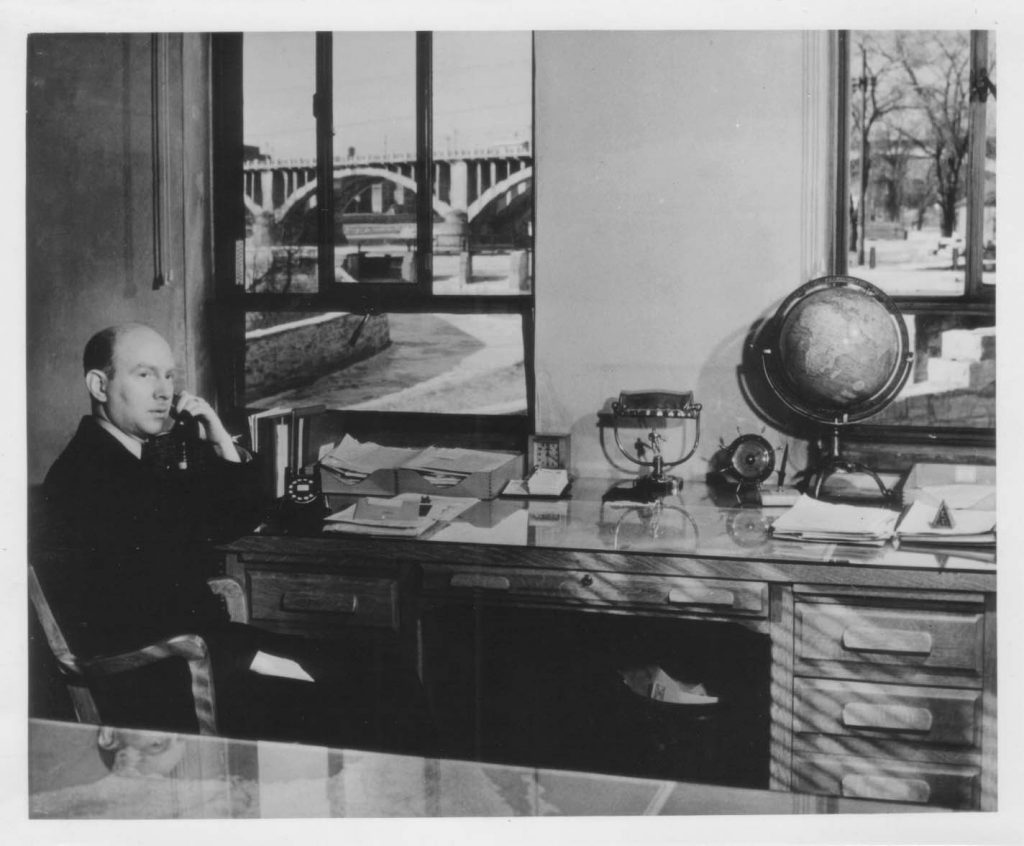 Lorenz Straub, SAFL's architect and first director, in his office at the St. Anthony Falls Laboratory. Image courtesy of SAFL.