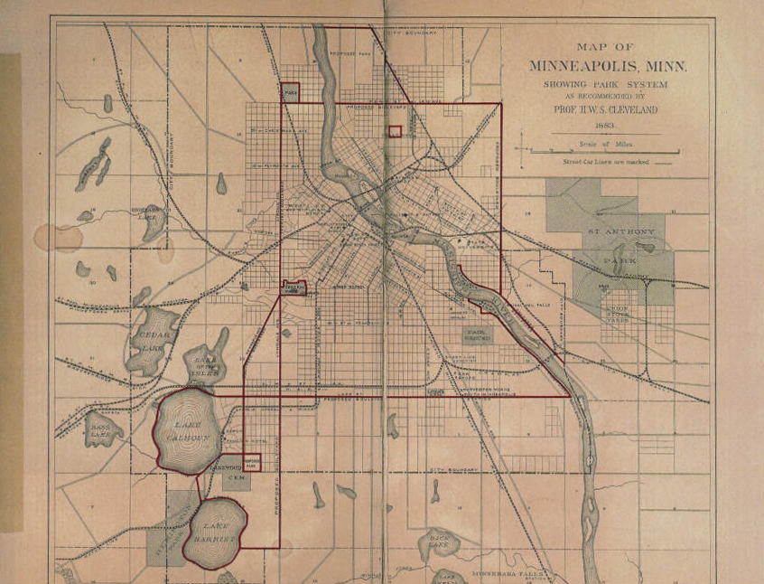1883 map of Minneapolis, MN showing the park system and Grand Rounds route as recommended by H. W. S. Cleveland. Image via Hennepin County Library.