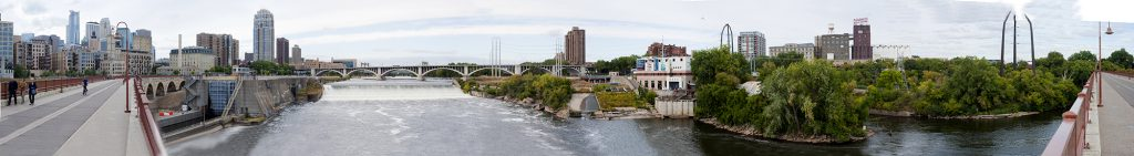 The St. Anthony Falls skyline, with the St. Anthony Falls Laboratory mid-right. Photographer Patrick O'Leary. Image courtesy of SAFL.